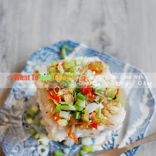 STEAMED TARO CAKE WITH DRIED SHRIMP TOPPINGS / O KUE (10-inch baking/casserole dish)