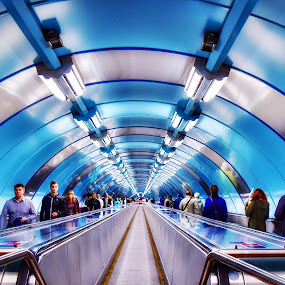 Metro station in St .Petersburg  by Nelida Dot - Buildings & Architecture Other Interior ( art, blue, symmetry, light, metro, station, architecture,  )
