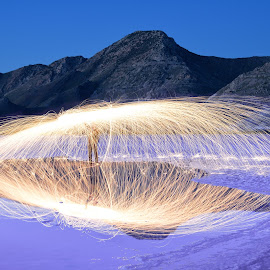 Fire and Salt by Givanni Mikel - Abstract Light Painting ( salt pond, reflection, mountain, steel wool, salt lake,  )