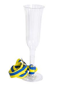 Champagneglas med blågult band