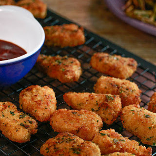 Garlic-Bread Chicken Nuggets with Balsamic Ketchup