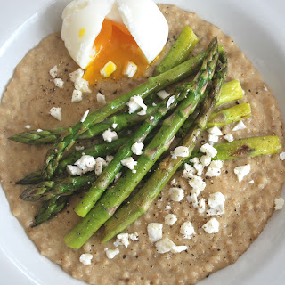 Soft Boiled Egg and Asparagus on Oats.