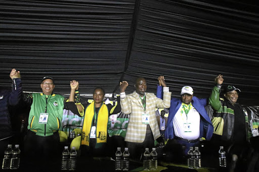 The elected provincial top five, Stan Mathabatha, Florence Radzilani, Soviet Lekganyane, Besikopo Makamu and Danny Msiza during the ninth ANC provincial conference in Polokwane, Limpopo.