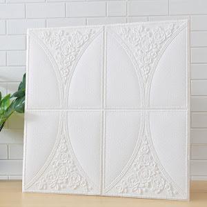 Set 5 x Tapet adeziv White Roses, 77 x 70 cm, spuma moale 3D