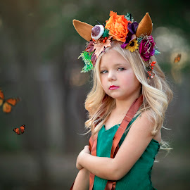 Woodland Princess by Carole Brown - Babies & Children Child Portraits ( blonde, girl, stunning, headpiece, butterflys )