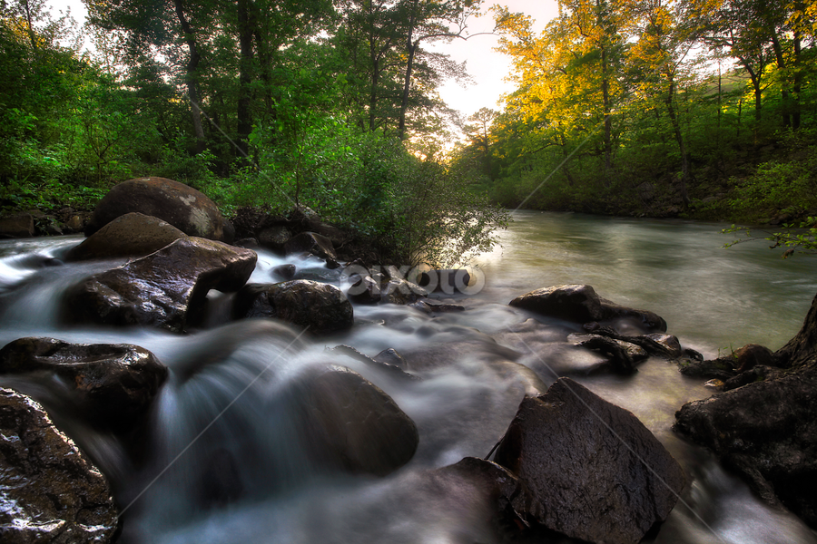 Golden Light Falls by William Rainey  - Landscapes Waterscapes ( waterfalls, oklahoma, arkansas )