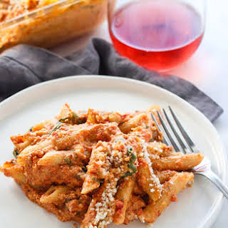 Creamy Baked Red Pepper Penne Pasta.
