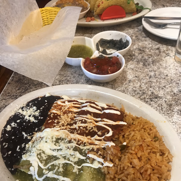 Gluten free enchiladas and crunchy beef tacos. Our server said almost everything can be made gluten free by using their corn tortillas. It was delish
