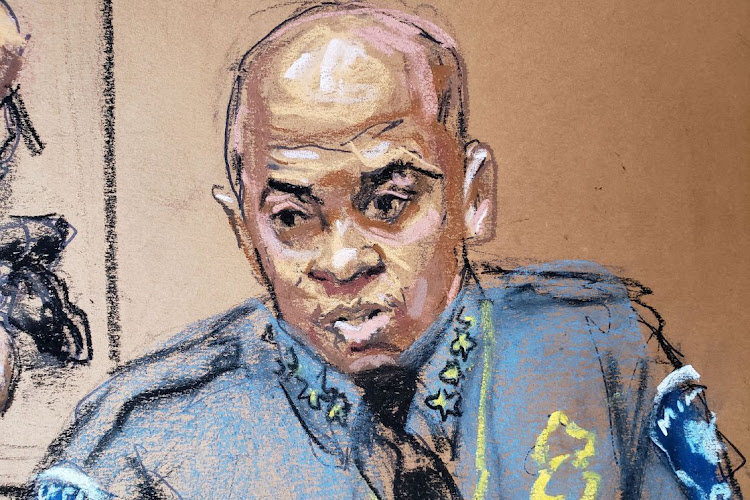 Minneapolis Police Chief Medaria Arradondo answers questions on the sixth day of the trial of former Minneapolis police officer Derek Chauvin for second-degree murder, third-degree murder and second-degree manslaughter in the death of George Floyd in Minneapolis, Minnesota, US April 5, 2021 in this courtroom sketch.