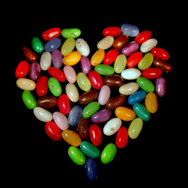 SWEET~HEART by Karen Tucker - Food & Drink Candy & Dessert ( macro, close up, yummy, treat, candy, jelly beans, multi colours, heart, heart shape, food, multicoloured, treats, multicolored, uk, sweets, colourful, sweet, colours )