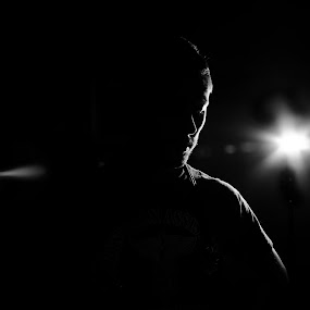 Edge Lighting by Brad Kalpin - People Fine Art ( portait, flash, b&w, black and white, male, outlined, fine art, selfshot, man )