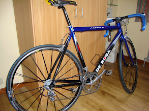 Photo: The latest addition to the fleet, a 2007 de Rosa Carbon Merak, now has a big 29 on the rear to help on the hills!