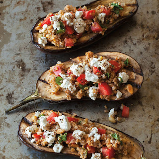 Grilled Eggplant Stuffed with Bulgur, Feta and Pine Nuts.