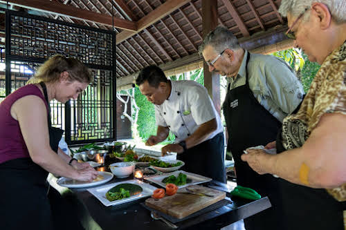 Indonesia. Bali Cooking Class. Preparing the Lawar Salad
