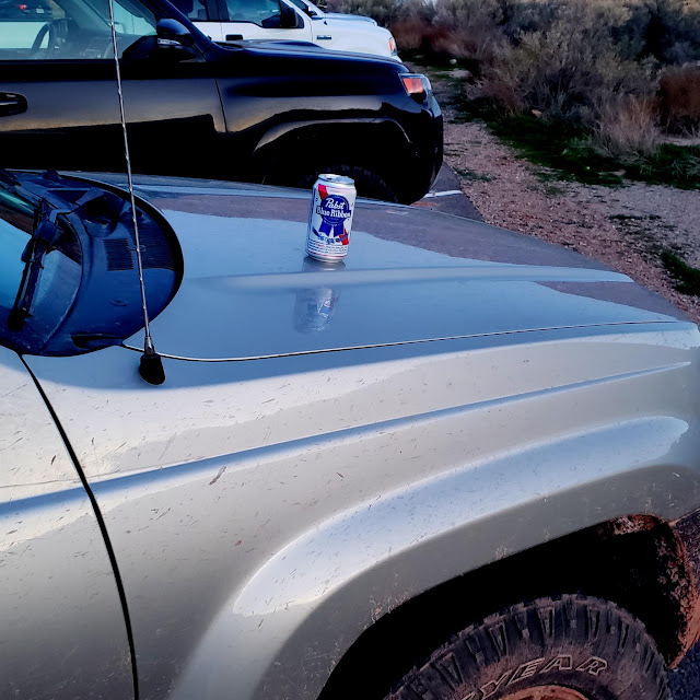 Enjoying a PBR at the Delicate Arch trailhead