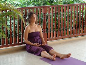 Photo: Yoga teacher trainee practicing Nishpanda Bhava (Relaxation technique).