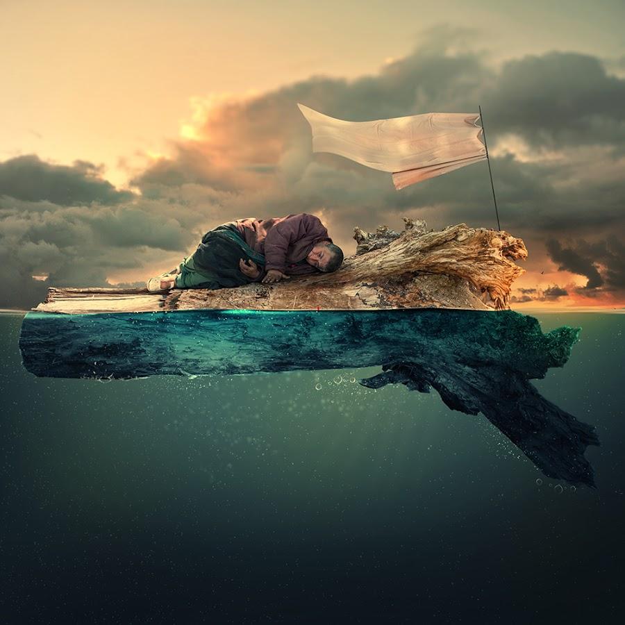 Survivor II by Caras Ionut - Digital Art People ( water, clouds, wind, tutorials, ioana, wood, pipes, smoke, manipulation, bubble, psd, flag, shadow, woman, floating, light, design, photoshop )