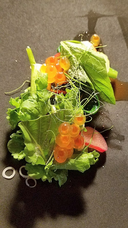 Journey of a Dinner at LangBaan with their May 2017 Tour of Thailand menu: Pra plaa salmon, a dish of Central style cured salmon, rhubarb, ramps, garden cress, ikura, toasted rice