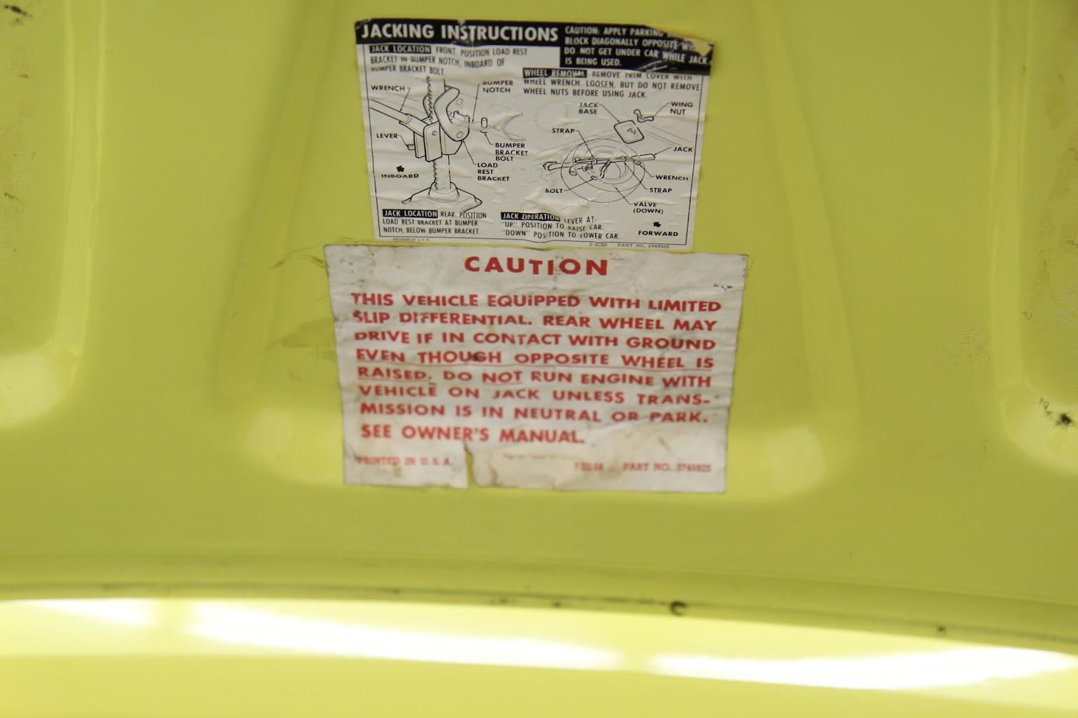 69 Yenko Daytona Yellow original paint details