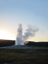 Photo: Old Faithful starting to erupt