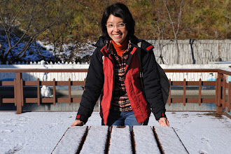 Photo: Day 3, we took a three hours free bus trip from Seoul to Jeonju. When I took this photograph, I thought we have reached. But it was a brief stop for bathroom break. Cynthia was excited by the thin layer of snow.
