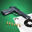Pistol shooting at the target.  Weapon simulator icon