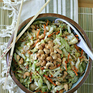 Asian Cabbage Slaw with Chicken and Roasted Cashews.