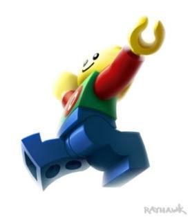 Happy jumping LEGO guy