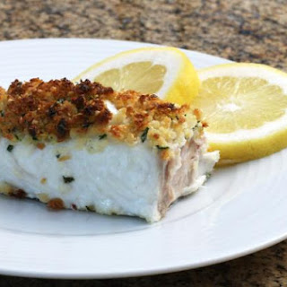 Baked Halibut With Butter and Parmesan Crumb Topping