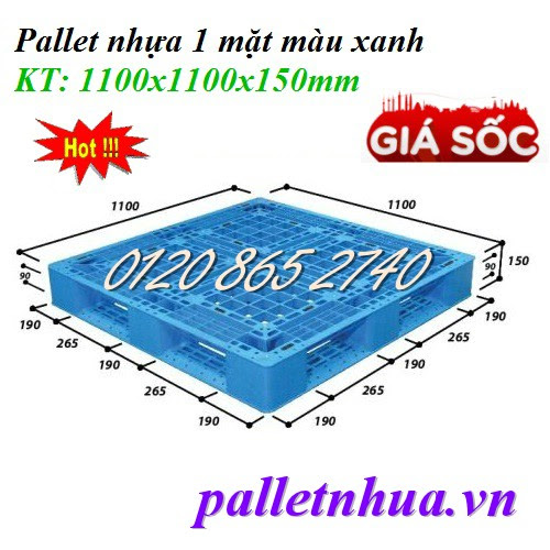 Pallet nhựa 1100x1100x150mm - xanh