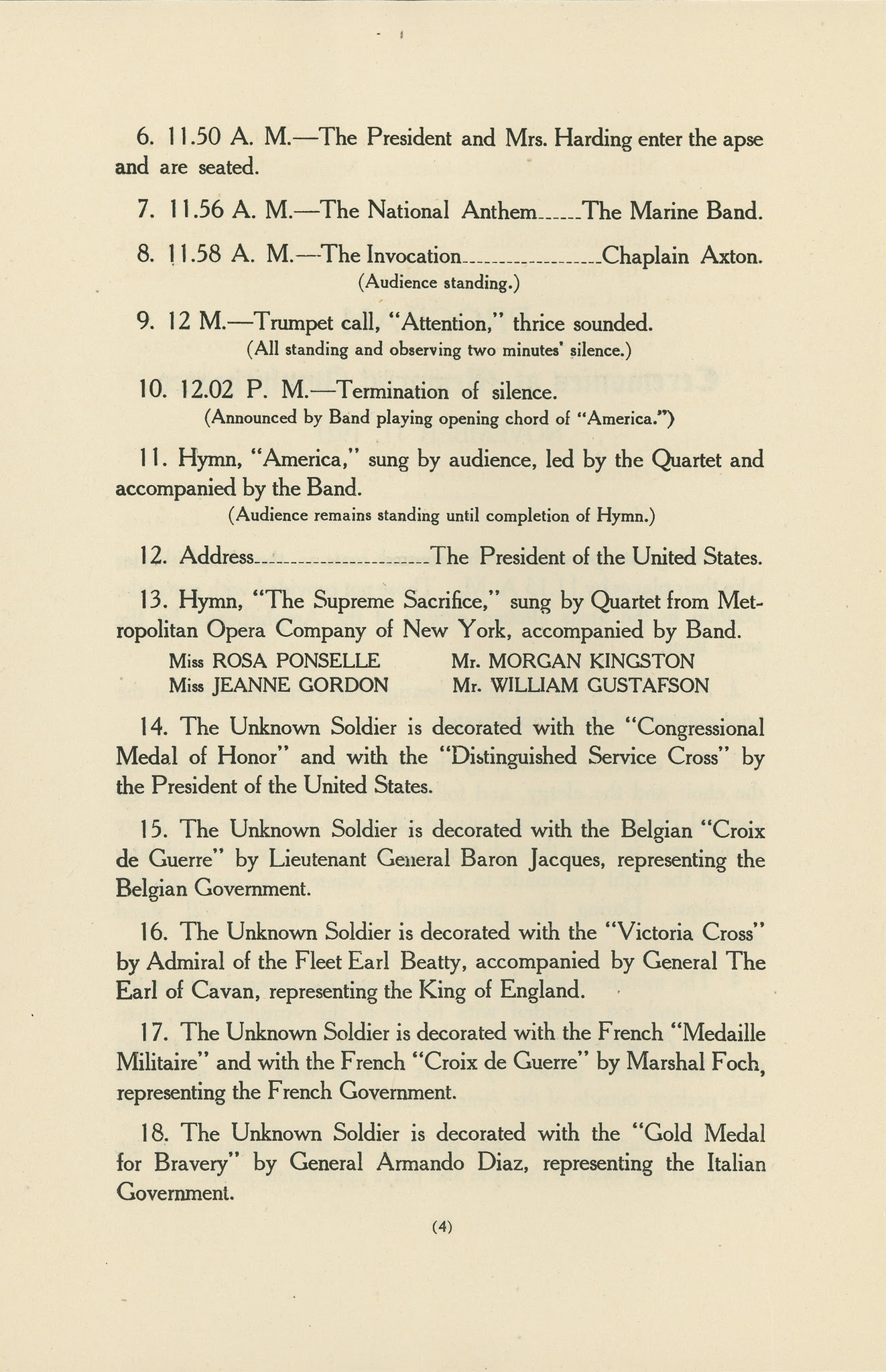 Photo: Program of the 1921 interment of the World War I Unknown Soldier, November 11, 1921.