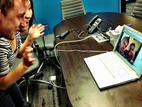 Photo: The two Dream Travel Job teams meet on Skype