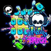 Graffiti Music Party Skull Keyboard