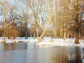 Photo: Bench in the setting light by a lake that's partially frozen at Eastwood Park in Dayton, Ohio.
