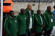 Kwanele Kopo,SA Under-23 coach David Notoane with goalkeeper coach Wendell Robinson during the U23 Africa Cup of Nations 3rd Round Qualifier 1st Leg match between South Africa and Zimbabwe at Orlando Stadium on September 06, 2019 in Johannesburg, South Africa.
