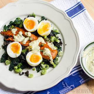 Eggs, Kale & Smoked Mackerel with Caper Sauce.