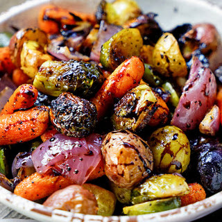 Easy Roasted Vegetables with Honey and Balsamic Syrup.