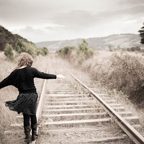 Track in time by Eliza Jane - Babies & Children Children Candids ( child, wine, yarra glen, track, rail, train, tracks, walk )