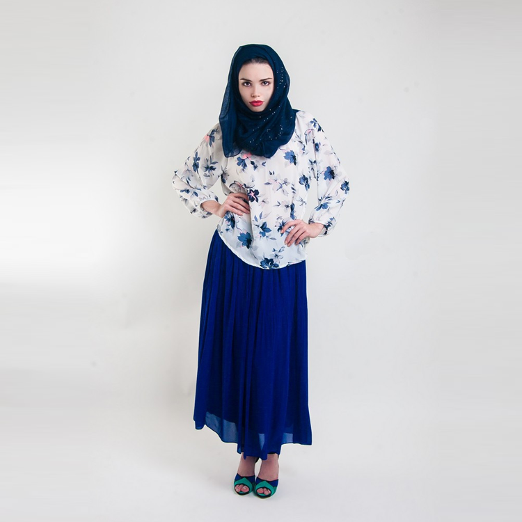Pamela Pleat Maxi Skirt In Royal Blue by Hijab Le Modesty