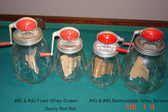 Photo: #4 Qt. & #8 Qt.  Red Ball's Fixed & Removeable Whey Screen's Mfd. 1930's-1950's DAZEY