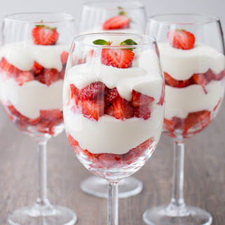 Strawberry White Chocolate Mousse Parfait.