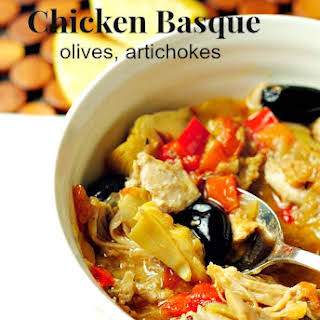Chicken Basque, olives, artichokes (from The Lemonade Cookbook).