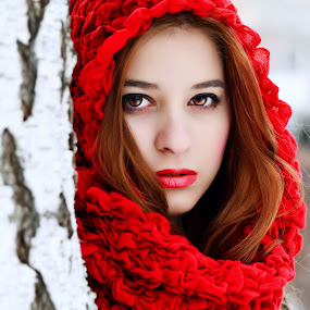 Red by Alina Dinu - People Portraits of Women ( girl, red, woman, lips, lady, scarf, people, women,  )