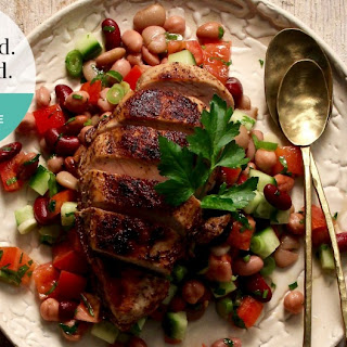 Grilled Shawarma chicken with mixed bean salad