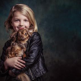 With my dog by Henk  Veldhuizen - Babies & Children Child Portraits ( child, girl, fine art, child portrait, chihuahua )
