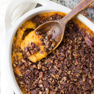 Paleo Sweet Potato Casserole with Bacon Pecan Streusel.