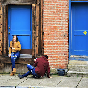 Random Candicity by Todd Ratisseau - People Street & Candids ( color wood, photo shoot in progress, random shooting, brick, young pretty lady, historic jacksonville oregon, drive by shooting )