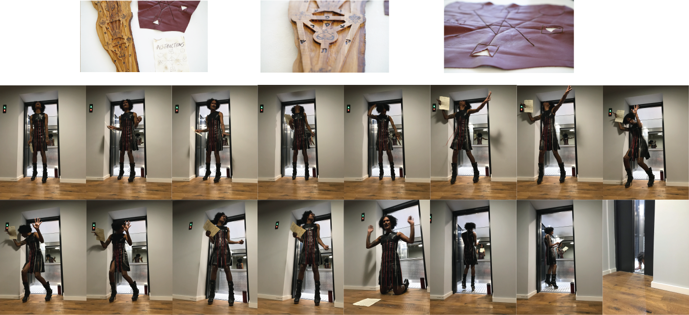 Photomontage. Top line showing the sculptural elements of X, including voodoo sefirot, sacrifice mat, and instruction leaflet. Bottom two rows are stills from the performance, showing the artist with medium length afro in a black and red leather dress, contorting her body within the confines of an elevator