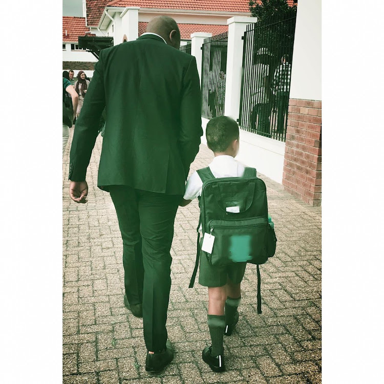 Mmusi Maimane and his son Daniel on Wednesday January 9 2018 as they arrive for Daniel's first day of school.