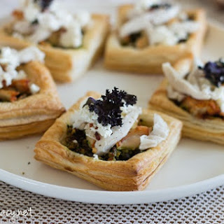 Poached Chicken Puff Pastry Squares